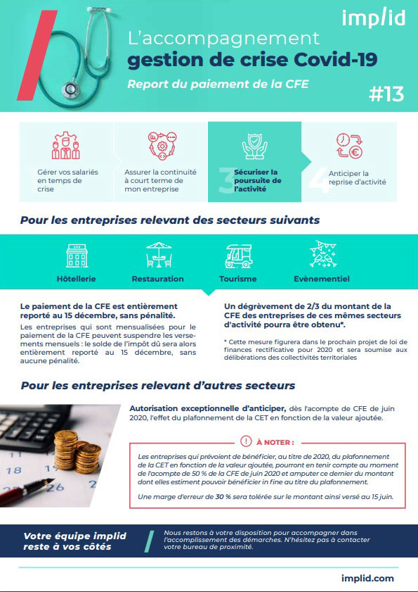 Infographie report paiement CFE crise Covid 19